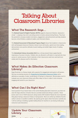 Talking About Classroom Libraries