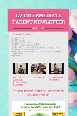 LV Intermediate Parent Newletter