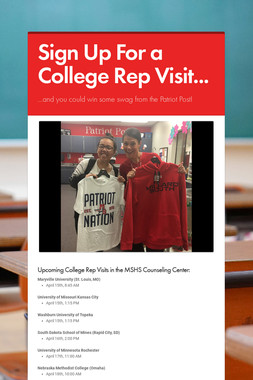 Sign Up For a College Rep Visit...