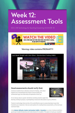Week 12: Assessment Tools