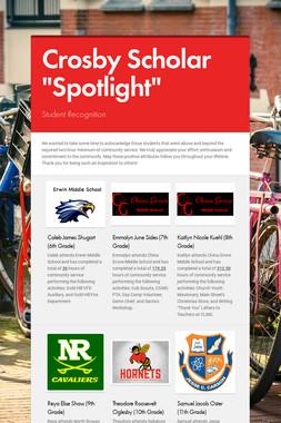 """Crosby Scholar """"Spotlight"""""""