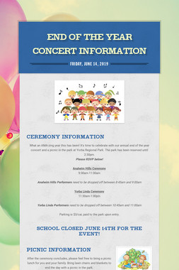 End of the Year Concert Information