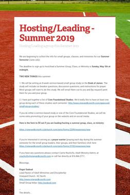 Hosting/Leading - Summer 2019
