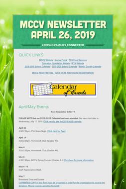MCCV Newsletter April 26, 2019