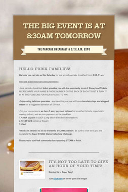 The Big Event is at 8:30am TOMORROW