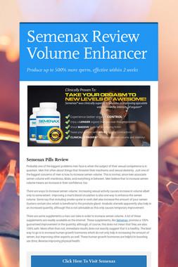 Semenax Review Volume Enhancer