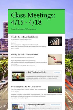 Class Meetings: 4/15 - 4/18
