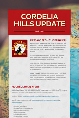Cordelia Hills Update