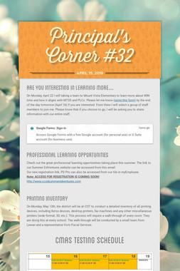 Principal's Corner #32