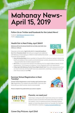 Mahanay News- April 15, 2019