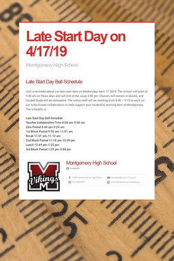Late Start Day on 4/17/19