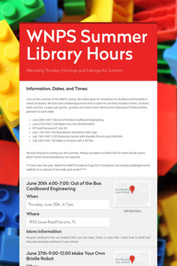 WNPS Summer Library Hours