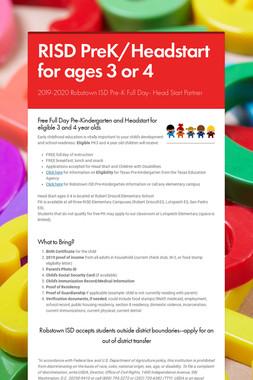 RISD PreK/Headstart for ages 3 or 4