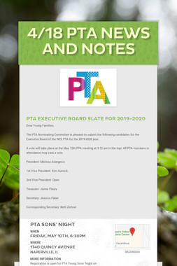 4/18 PTA News and Notes