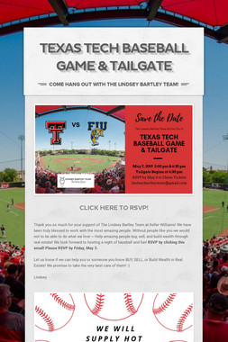 Texas Tech Baseball Game & Tailgate