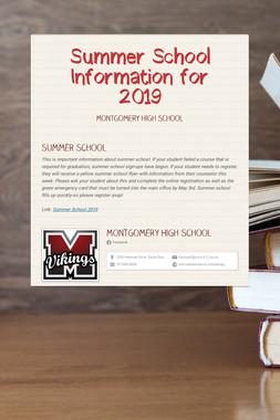 Summer School Information for  2019