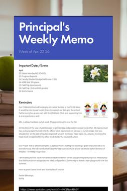 Principal's Weekly Memo