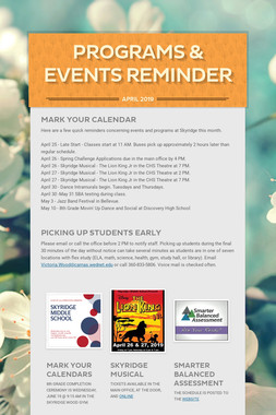 Programs & Events Reminder