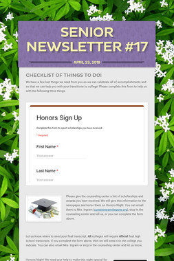 Senior Newsletter #17
