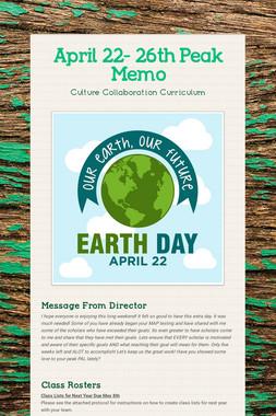 April 22- 26th  Peak Memo