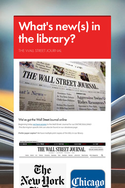 What's new(s) in the library?