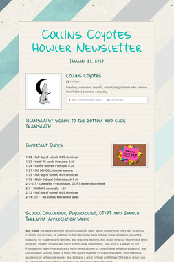 Collins Coyotes Howler Newsletter