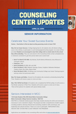 Counseling Center Updates