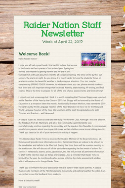 Raider Nation Staff Newsletter