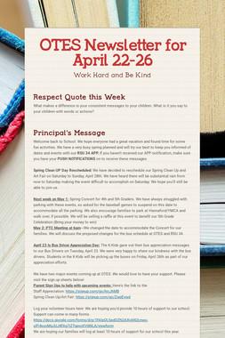 OTES Newsletter for April 22-26
