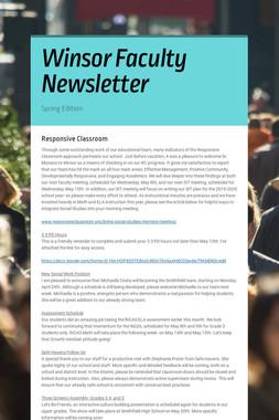 Winsor Faculty Newsletter