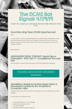 The DCMS Bat Signal: 4/29/19
