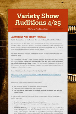 Variety Show Auditions 4/25
