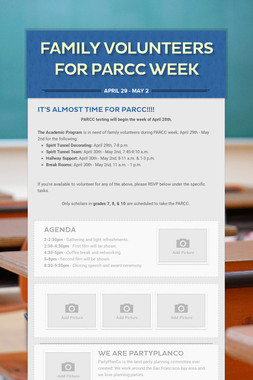 Family Volunteers for PARCC Week