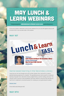 May Lunch & Learn Webinars