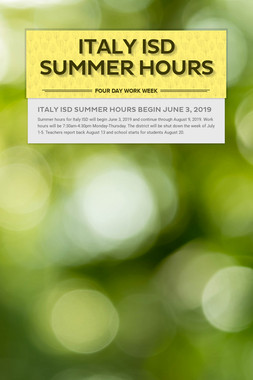 Italy ISD Summer Hours