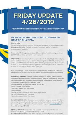 Friday Update 4/26/2019