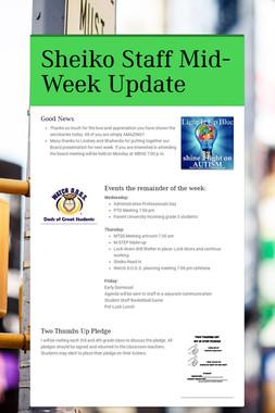 Sheiko Staff Mid-Week Update