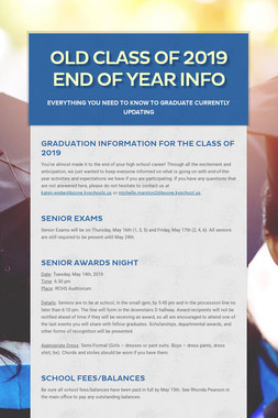 Class of 2019 End of Year Info