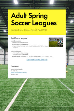 Adult Spring Soccer Leagues