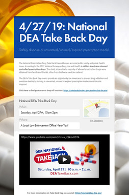4/27/19: National DEA Take Back Day