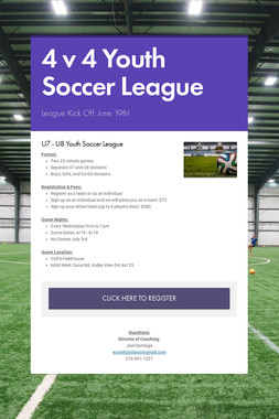4 v 4 Youth Soccer League