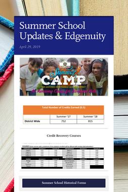 Summer School Updates & Edgenuity