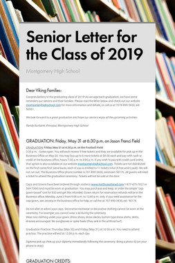 Senior Letter for the Class of 2019