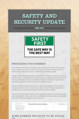 Safety and Security Update