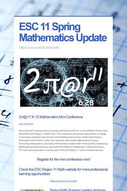 ESC 11 Spring Mathematics Update