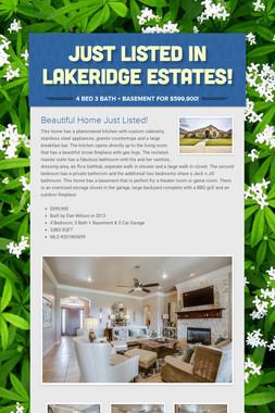 Just Listed in Lakeridge Estates!