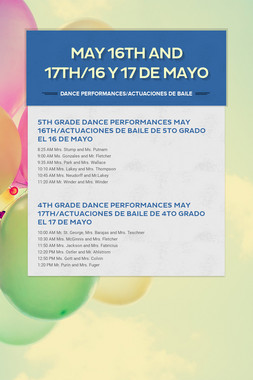 May 16th and 17th/16  y 17 de mayo