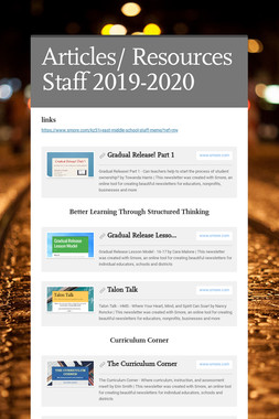 Articles/ Resources Staff 2019-2020