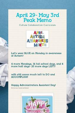 April 29- May 3rd Peak Memo