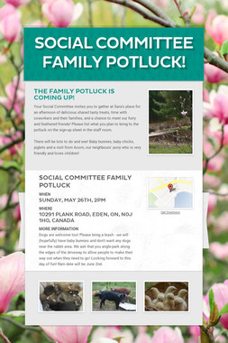 Social Committee Family Potluck!